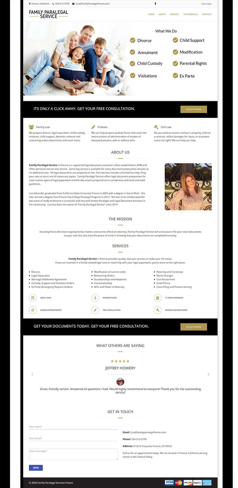 paralegal service website design fresno